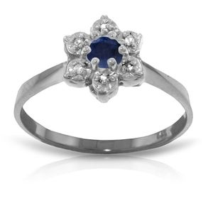 SOLID GOLD RING WITH NATURAL DIAMONDS & SAPPHIRE